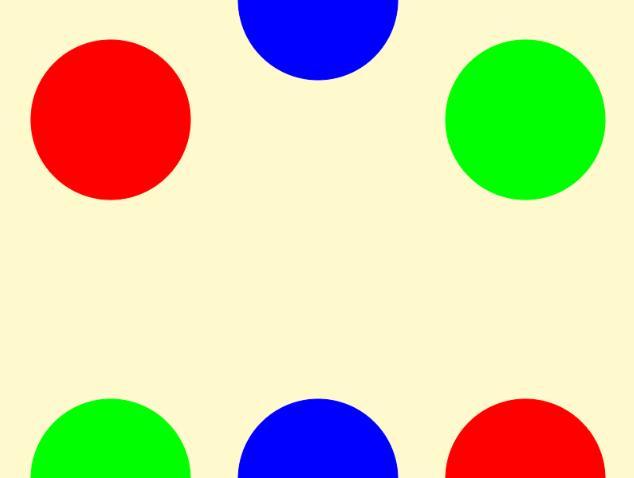 同じ色の円を線で結んでください